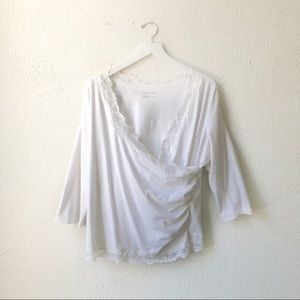 Coldwater Creek   White Wrap Lace Top Size XL